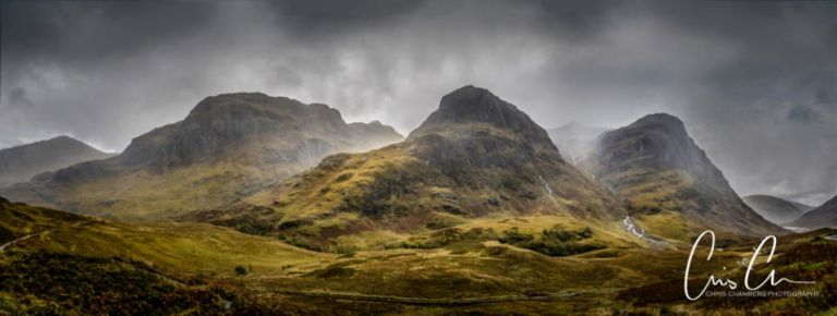 The Three Sisters mountains in Glencoe Scottish Highlands. Landscape photography workshop photograph taken in stormy weather