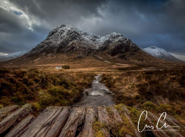 Glencoe white cottage and mountain behind. Glencoe Scottish photography workshop