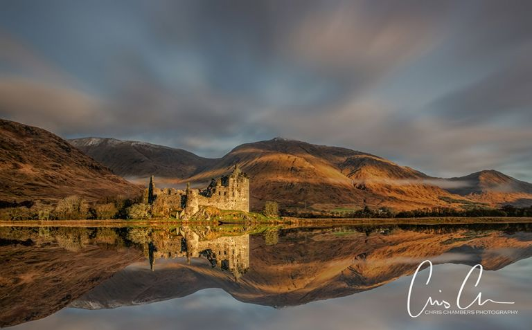 Scottish Castle and Loch at sunrise, Photographed on a landscape photography workshop to Glencoe and the Scottish Highlands.