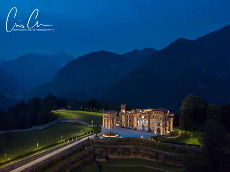Italian Castle in the Dolomites at Dusk. Castello Ceconi owned by Graphistudio wedding album company.