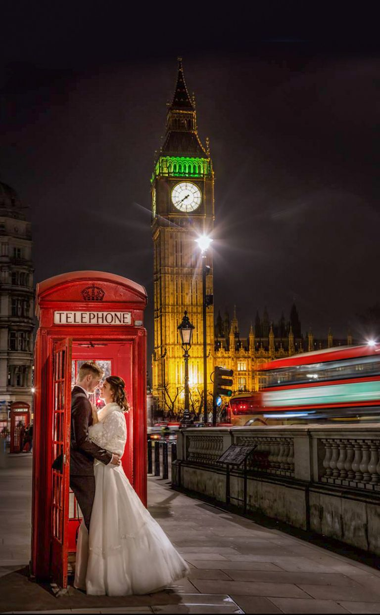 Bride and groom in Westminster London with Big ben and a red telephone box