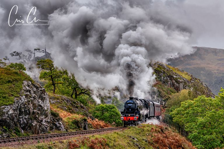 The Jacobite Express steam train after passing over the Glenfinnan Viaduct. Glencoe Scottish photography workshop