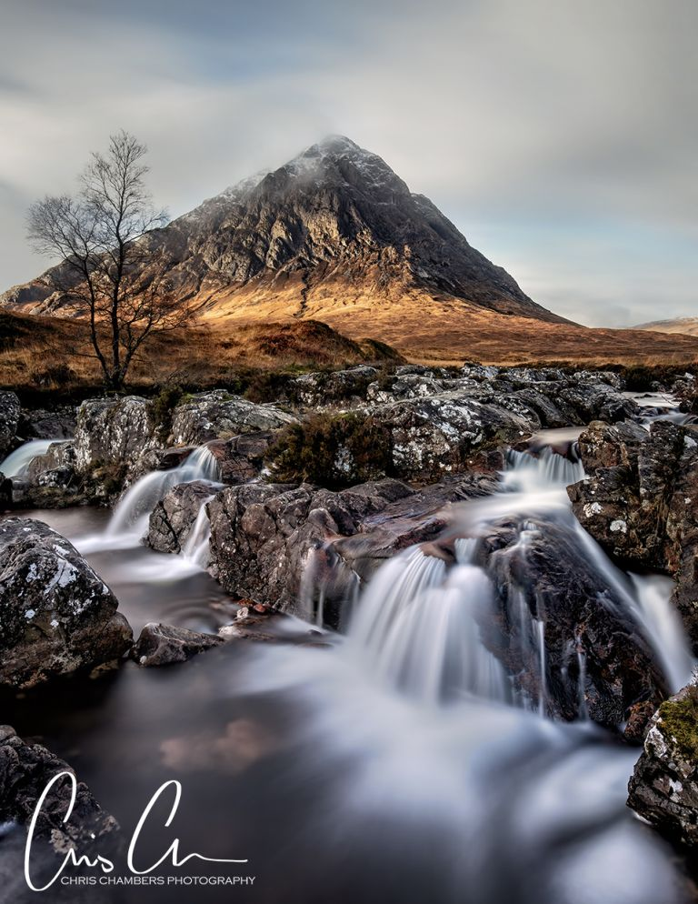 Famous Glencoe Waterfalls and mountains. Photographed on a landscape photography workshop to Glencoe and the Scottish Highlands.